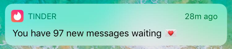 Screeshot - 97 nových zpráv na Tinderu
