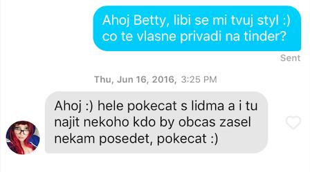 První zpráva holce na tinderu – Betty 20
