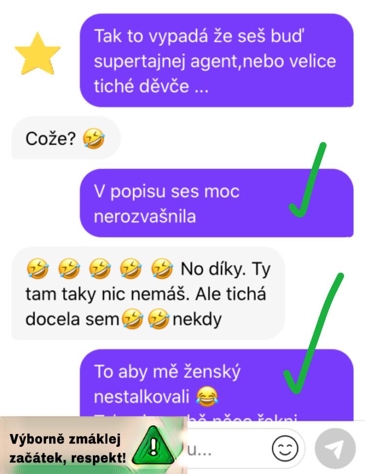 Screenshot začátku konverzace